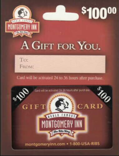 Montgomery Inn $100 Gift Card Perspective: front