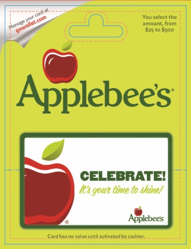Applebees $25-$500 Gift Card - After Pickup, visit us online to activate and add value Perspective: front
