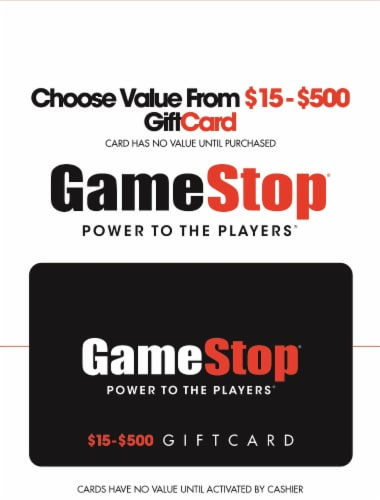 Gamestop $15-$500 Gift Card Perspective: front