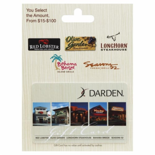 Darden $15-$100 Gift Card Perspective: front