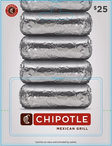 Chipotle Mexican Grill $25 Gift Card Perspective: front