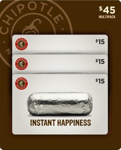 Chipotle Mexican Grill $15 Gift Card Multipack Perspective: front