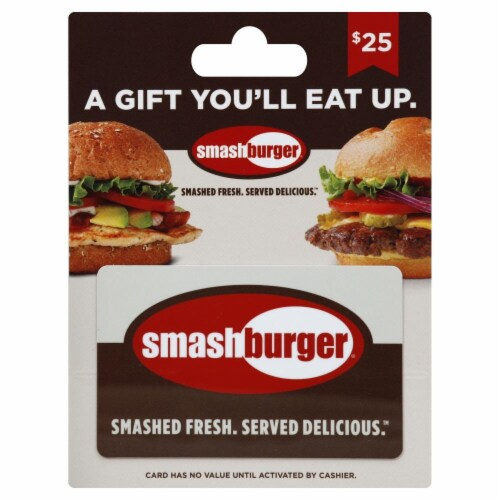 Smash Burger $25 Gift Card Perspective: front