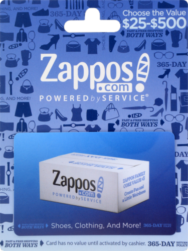 Zappos Variable Amount Gift Card Perspective: front