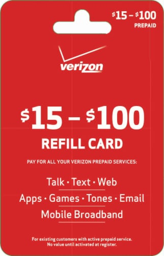 Verizon $15-$100 Refill Gift Card Perspective: front