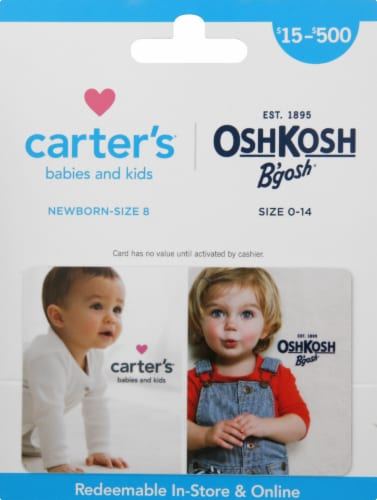 Carter's & Oshkosh Variable Amount Gift Card Perspective: front