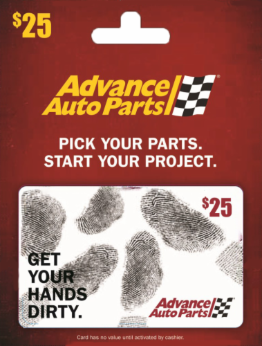 Advance Auto Parts $25 Gift Card Perspective: front