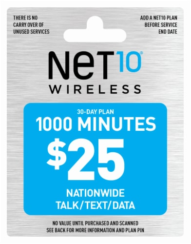 NET10 Wireless 1000 Minutes $25 Phone Card Perspective: front