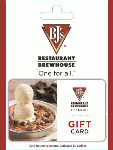 BJ's Restaurant Variable Amount Gift Card Perspective: front
