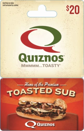 Quiznos $20 Gift Card Perspective: front