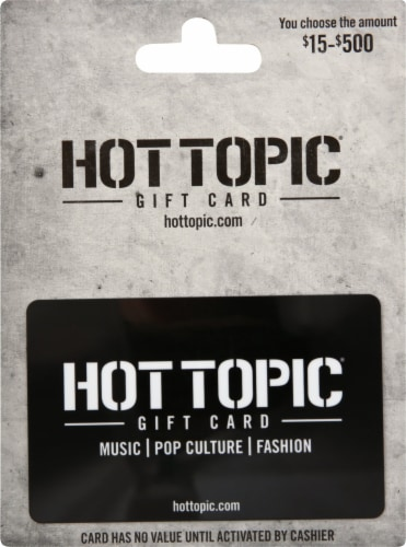 Hot Topic $15-$500 Gift Card Perspective: front
