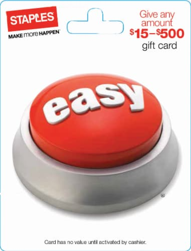 Staples $15-$500 Gift Card Perspective: front