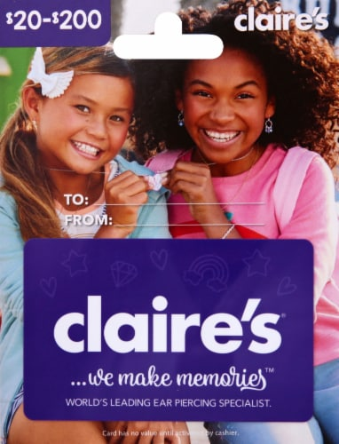 Claire's Variable Amount Gift Card Perspective: front