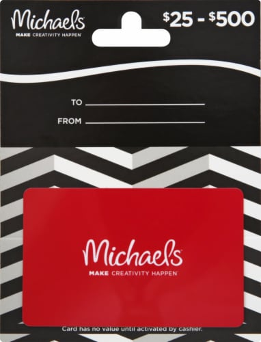 Michaels Variable Amount Gift Card Perspective: front