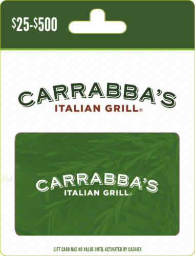 Carrabba's Italian Grill $25-$500 Gift Card Perspective: front