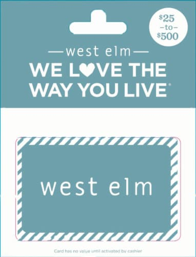 West Elm $25-$500 Gift Card Perspective: front