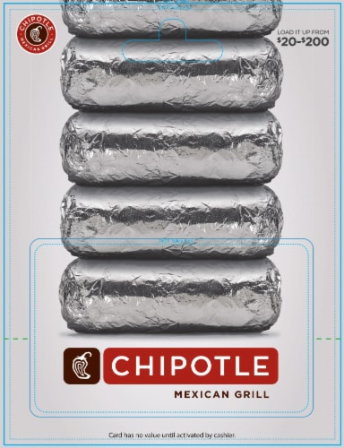 Chipotle $20-$200 Gift Card - After Pickup, visit us online to activate and add value Perspective: front