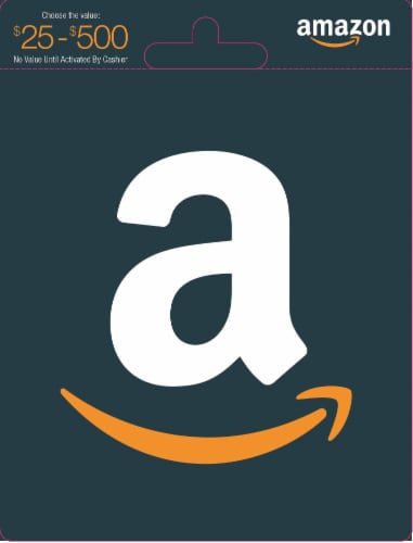 Amazon $25-$500 Gift Card - After Pickup, visit us online to activate and add value Perspective: front