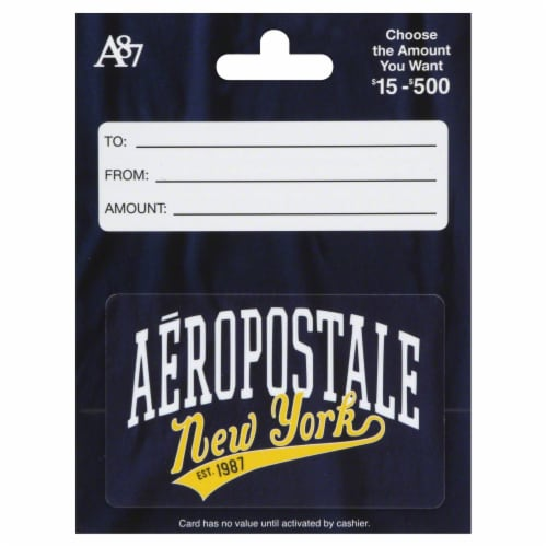 Aeropostale Variable Amount Gift Card Perspective: front