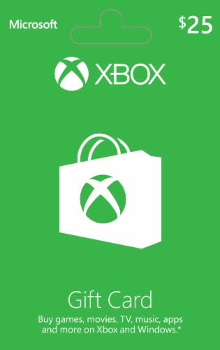 Microsoft Xbox Cash $25 Gift Card Perspective: front