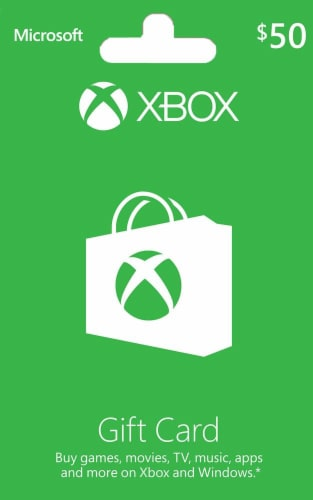 Microsoft Xbox Cash $50 Gift Card Perspective: front