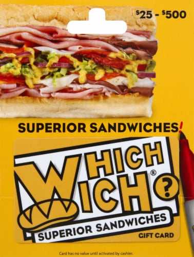 Which Wich Variable Amount $20-500 Gift Card Perspective: front