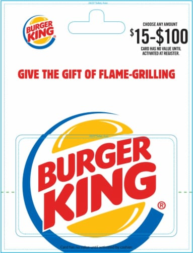 Burger King $15-$100 Gift Card Perspective: front