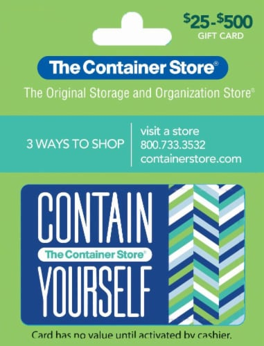 The Container Store $25-$500 Contain Yourself Gift Card Perspective: front