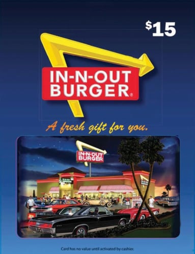 In-N-Out Burger $15 Gift Card Perspective: front