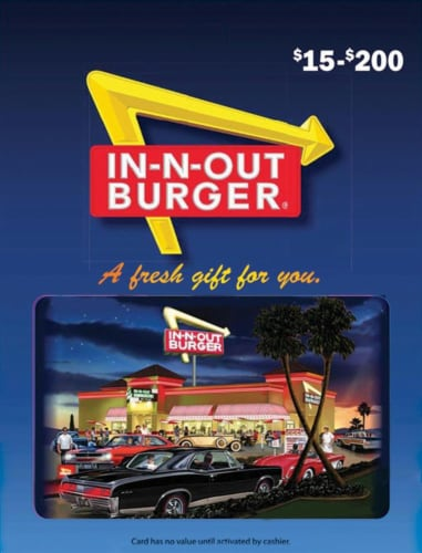 In-N-Out Burger Variable Amount Gift Card Perspective: front