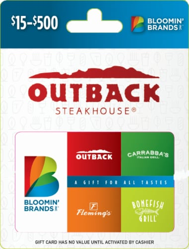 Bloomin' Brands Inc Variable Amount Gift Card Perspective: front