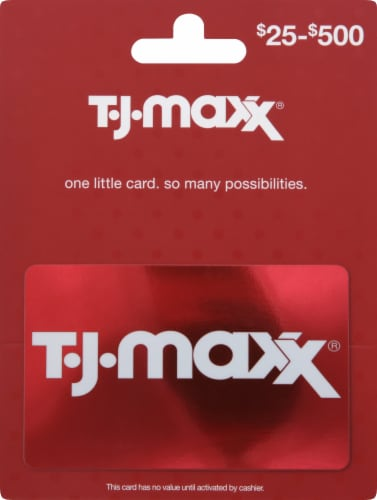 T.J.Maxx Variable Amount Gift Card Perspective: front