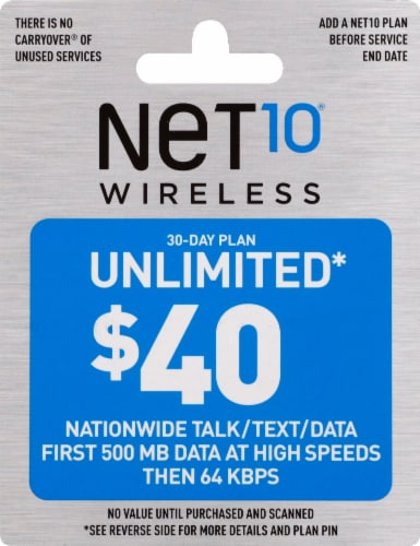 NET10 Wireless Unlimited $40 Phone Card Perspective: front