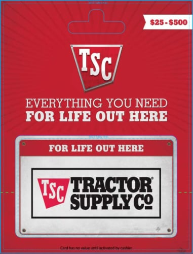 Tractor Supply Company $25-$500 Gift Card Perspective: front