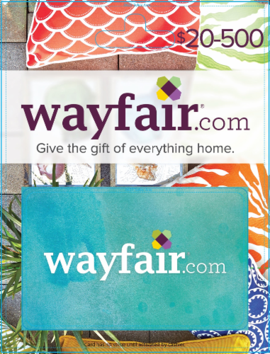 Wayfair $20-$500 Gift Card - After Pickup, visit us online to activate and add value Perspective: front