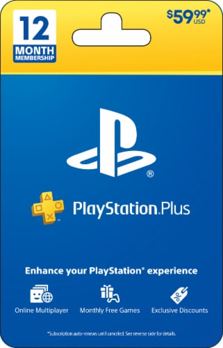 PlayStation® Plus 12 Month $59.99 Gift Card Perspective: front