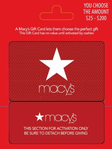 Macy's $25-$200 Gift Card - After Pickup, visit us online to activate and add value Perspective: front