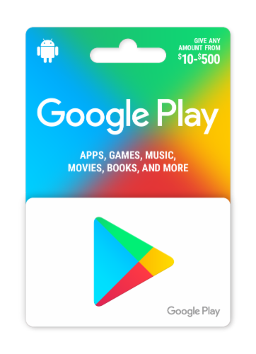 Google Play Gift Card ($10-$500) Perspective: front