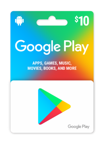 Google Play $10 Gift Card Perspective: front
