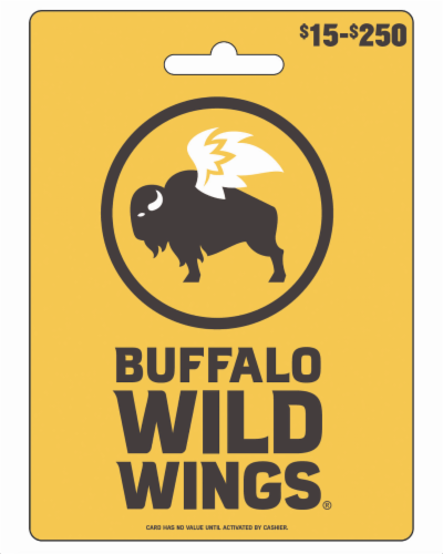 Buffalo Wild Wings $15-$250 Gift Card - After Pickup, visit us online to activate and add value Perspective: front