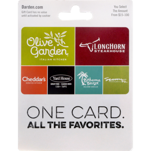 Darden $15-$100 Gift Card - After Pickup, visit us online to activate and add value Perspective: front