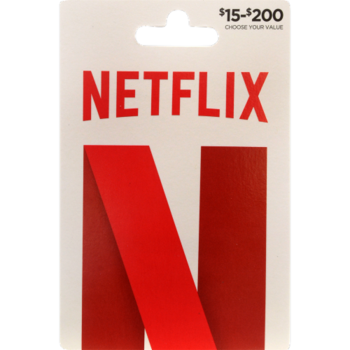 Netflix $15-$200 Gift Card - After Pickup, visit us online to activate and add value Perspective: front