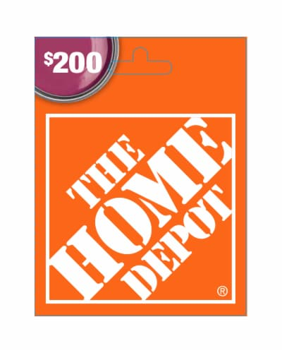 Home Depot $200 Gift Card Perspective: front
