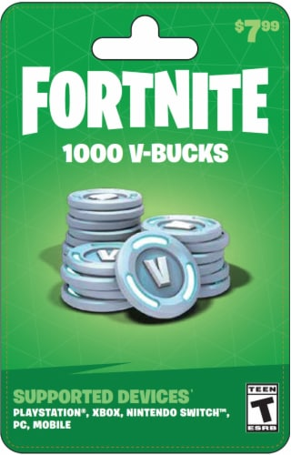 Fortnite V-Bucks $7.99 Gift Card Perspective: front
