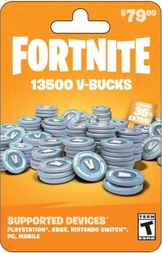 Fortnite V-Bucks $79.99 Gift Card Perspective: front