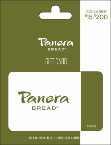Panera Bread $15-$200 Gift Card Perspective: front