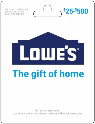 Lowe's $25-$500 Gift Card - After Pickup, visit us online to activate and add value Perspective: front