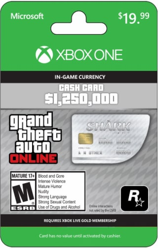 Xbox One Grand Theft Auto $19.99 Gift Card Perspective: front