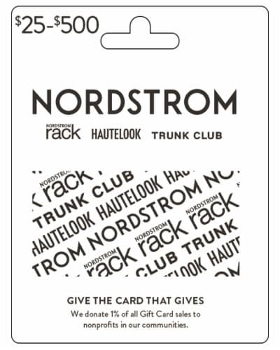 Nordstrom $25-$500 Gift Card - After Pickup, visit us online to activate and add value Perspective: front