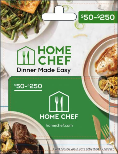 Home Chef $50-$250 Gift Card - After Pickup, visit us online to activate and add value Perspective: front